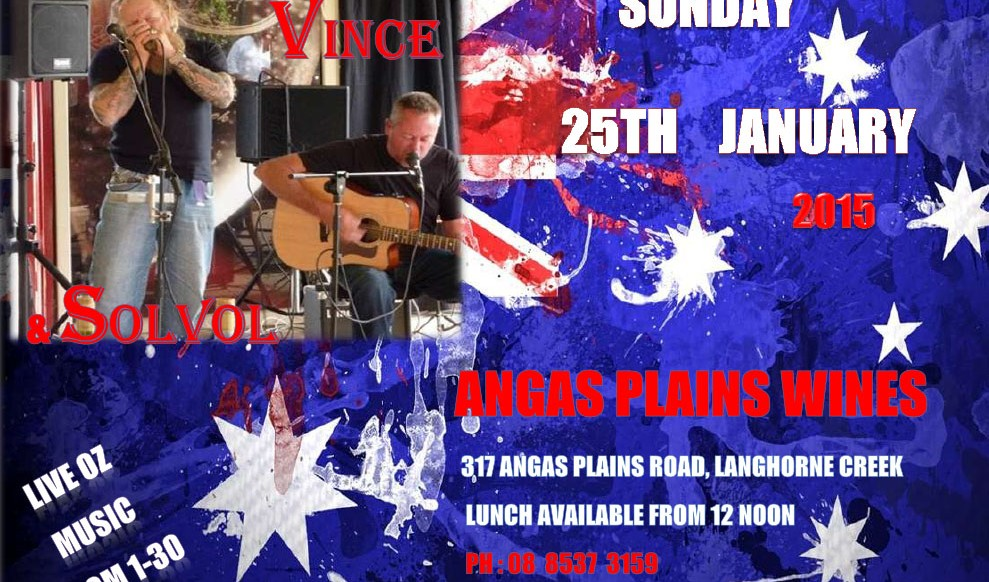 Australia Day Long Weekend Live Music at Angas Plains Wines